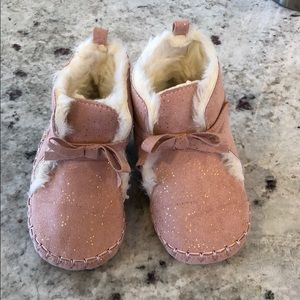 Faux Suede sparkle booties for baby